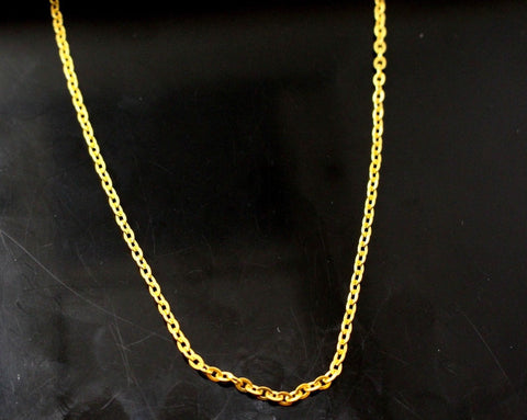 22k Chain Yellow Solid Gold Rope Necklace Simple Link Design 1.05mm c616