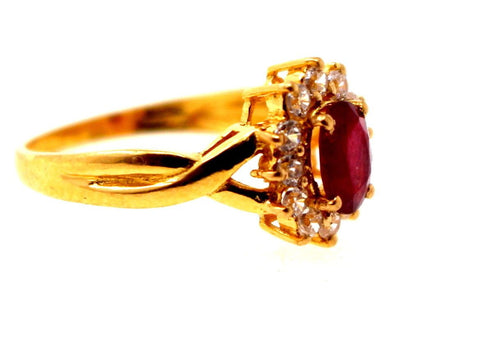 "22k 22ct Solid Gold ELEGANT RUBY STONE ZIRCONIA CLUSTER Ring  ""RESIZABLE"" r1243"