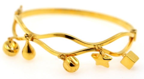21k 21ct Gold BEAUTIFUL LADIES Charm 1 PC LOCK BANGLE BRACELET B833