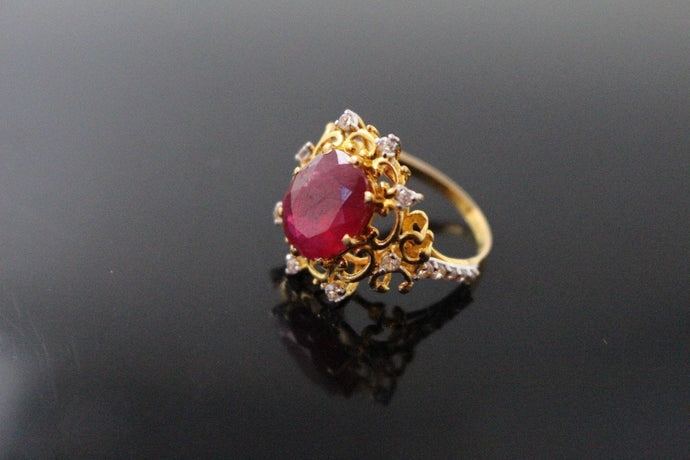 22k 22ct Solid Gold ELEGANT Antique Ladies Stone Ring SIZE 6.0