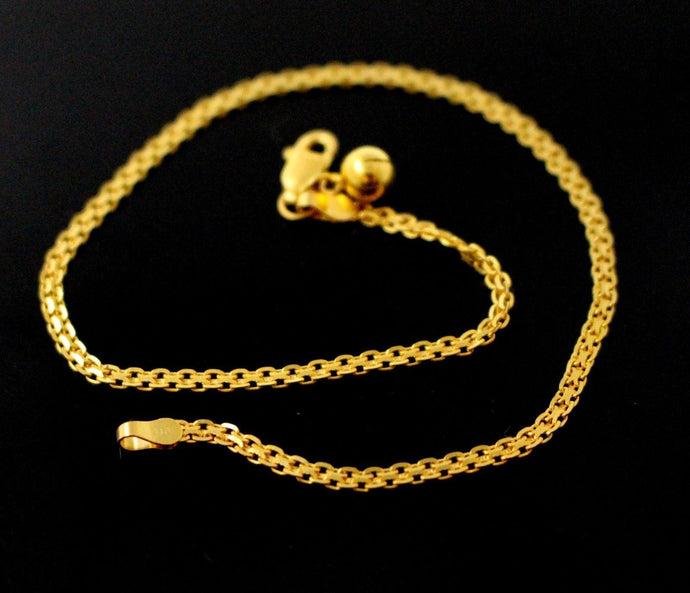 22k 22ct Solid Gold ELEGANT Ladies ANKLET PLAIN FLAT CHARM B783