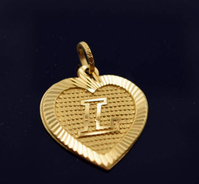22k Solid Gold Heart Shape Pendent L letter pl3 | Royal Dubai Jewellers
