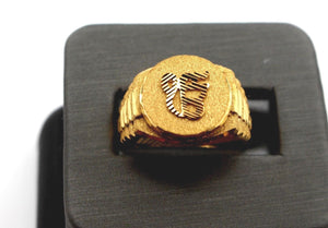 22k 22ct Solid Gold ELEGANT SIKHI ON KAR MENS RING BAND Size 8.5 RESIZABLE R1367