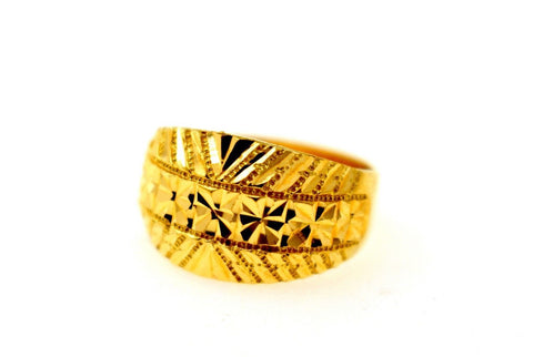 "[22k 22ct Solid Gold THICK DESIGNER DIAMOND CUT Ring BAND ""RESIZABLE"" R1638"