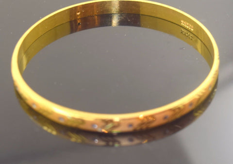 22k Solid Gold ELEGANT WOMEN BANGLE BRACELET MODERN DESIGN Size 2.5 inch B336