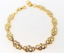 22k Gold ELEGANT RHODIUM ITALIAN DESIGN HEART SHAPE LADIES BRACELET B895