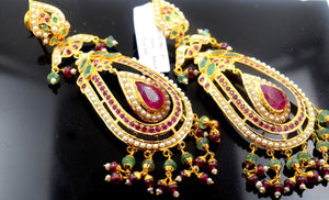 22k Gold Jewelry LONG EARRINGS DANGLING chandeliers Ruby Pearl Emerald E594