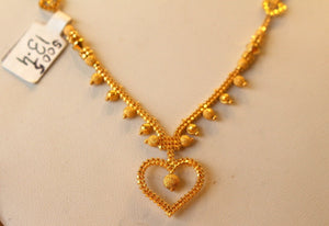 22k 22ct Solid Gold Simple Light Chain Set Modern Heart Design cs107