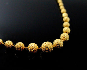 22k Yellow Solid Gold Chain Necklace Diamond Cut Ball Design Length 28 inch c832