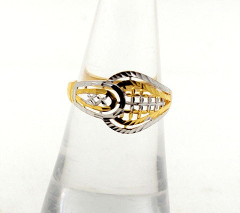 22k 22ct Solid Gold BEAUTIFUL RHODIUM DESIGNER RING Size 6.5 RESIZABLE R1273