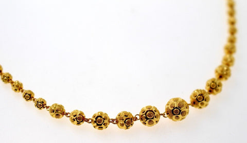 22k Yellow Solid Gold Chain Necklace Diamond Cut Ball Design Length 28 inch c832 | Royal Dubai Jewellers