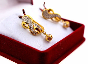 22k Jewelry Solid Gold ELEGANT CLIP-ON STONE EARRINGS Unique Design e2122 | Royal Dubai Jewellers