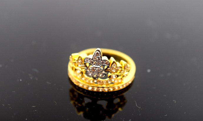 22k Solid Gold ELEGANT Crown Ring BAND with