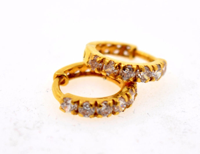 22k 22ct Solid Gold FANCY ZIRCONIA TINY HOOP BALI EARRING WITH BOX mf