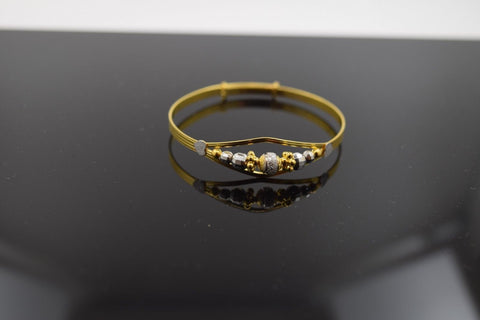 "22k 22ct Solid Gold ELEGANT PLAIN BABY CHILDREN BANGLE BRACELET""ADJUSTABLE cb47 