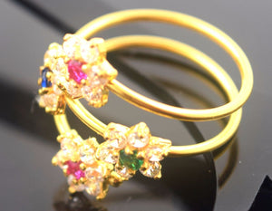 "22k Jewelry Solid Gold ELEGANT Ring Charm Modern Stone Design ""RESIZABLE"" R596"