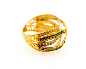 "22k 22ct Solid Gold emerald flower Designer ring band ""RESIZABLE"" R1625"