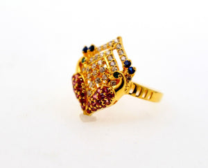 "22k 22ct Solid Gold emerald ruby long Designer ring band ""RESIZABLE"" R1626"