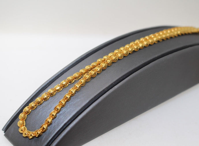 22k Yellow Solid Gold Chain Necklace Exquisite Ball Design Length 26 inch c378
