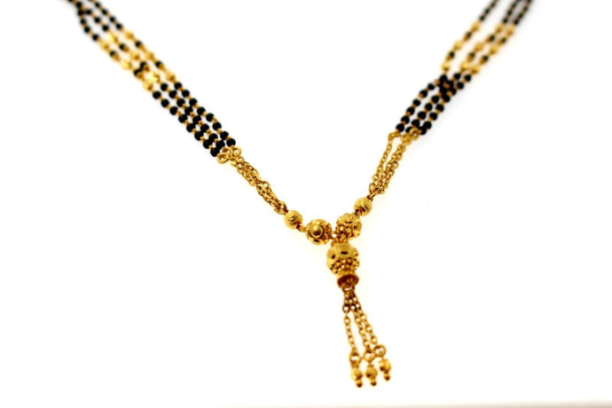 22k 22ct Yellow Gold MODERN MANGALSUTRA BLACK BEADS PENDANT Chain 16