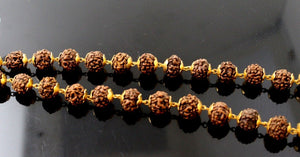 22k 22ct Gold Yellow NATURAL 5 Mukhi Rudraksha JAPA Mala 108 beads CHANTING c687