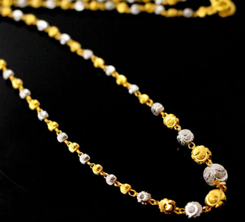 a22k 22ct Chain Yellow Solid GOLD FANCY Necklace RHODIUM Ball Design 18inch c744
