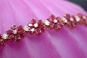 22k 22ct Solid Gold GORGEOUS NATURAL RUBY Flower DESIGN Bracelet 7 INCH B353