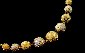 22k Yellow Solid Gold Chain Necklace Two Tone Ball Design Length 28 inch c828