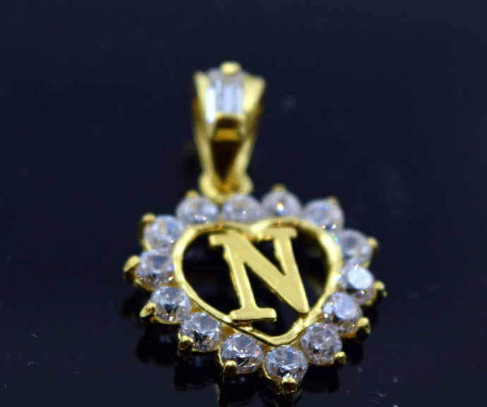 22k 22ct Solid Gold Heart Shape Pendent N letter pn4