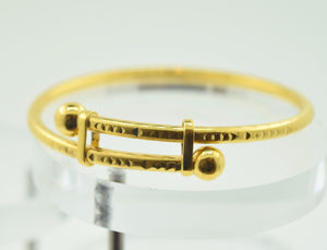 "22k 22ct Solid Gold ELEGANT BABY CHILDREN BANGLE BRACELET""ADJUSTABLE"" box CB28"
