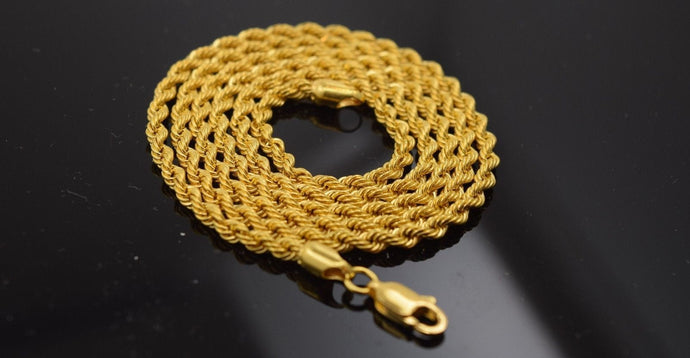 22k Yellow Solid Gold Chain Necklace 0.10mm c182 white diamond cut box mf