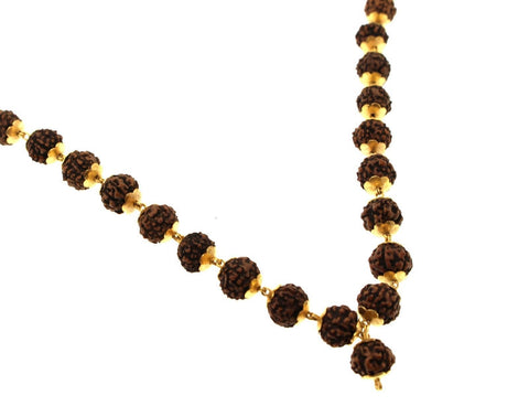 22k 22ct Gold Yellow NATURAL 5 Mukhi Rudraksha JAPA Mala 108 beads CHANTING c687 | Royal Dubai Jewellers