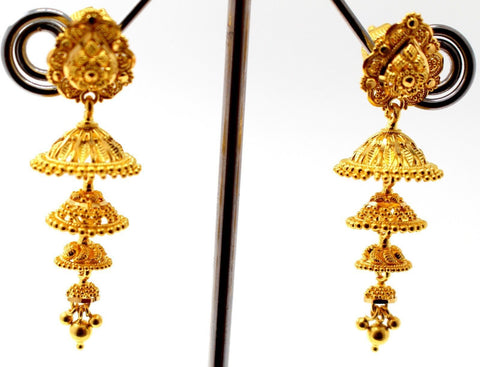 22k 22ct Jewelry Solid Gold ELEGANT LONG JHUMKE DANGLING Earring e5803