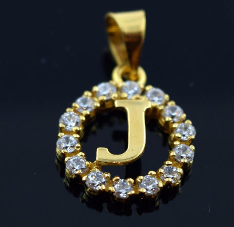 22k Jewelry Solid Gold Round Shape Pendent J letter with Stones pj1