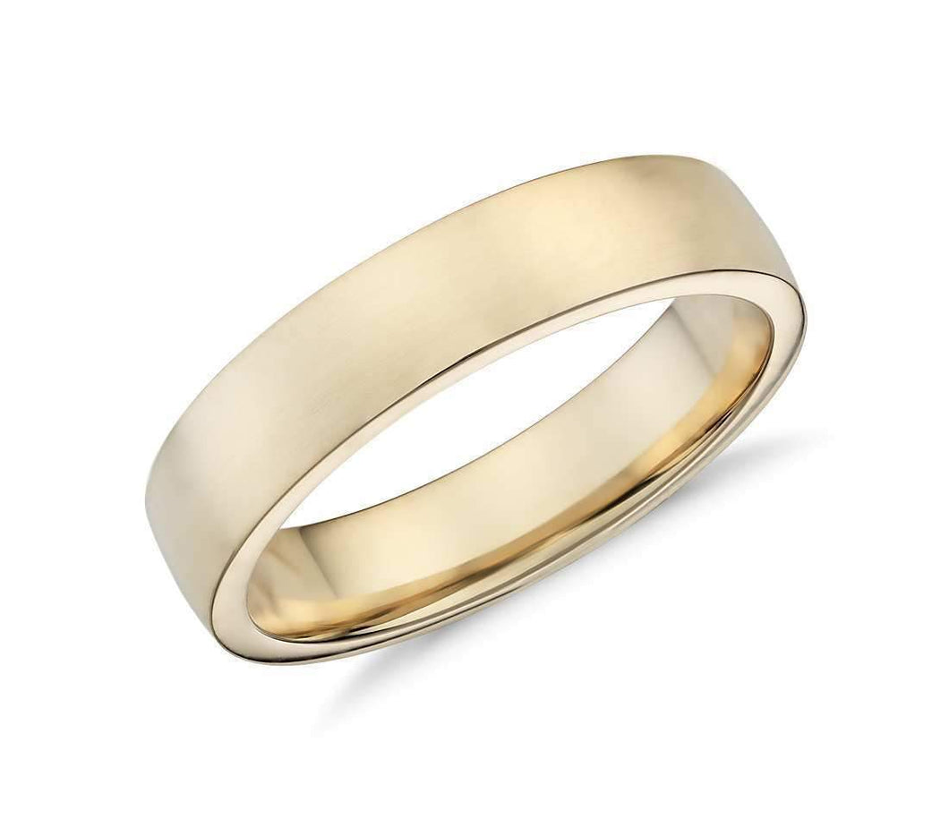 14k Solid Gold Low Dome Comfort Fit Wedding Ring 5mm Custom Size Avaliable