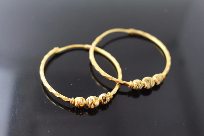 22k 22ct Solid Gold ELEGANT Extra Large Hoops Earring Modern Design e5121
