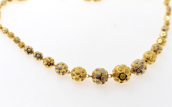 22k Yellow Solid Gold Chain Necklace Two Tone Ball Design Length 28 inch c824