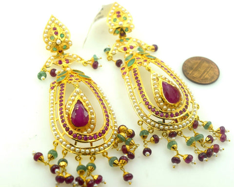 22k Gold Jewelry LONG EARRINGS DANGLING chandeliers Ruby Pearl Emerald E594 | Royal Dubai Jewellers