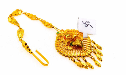 22k 22ct Yellow SOLID Gold ELEGANT LIGHT HEART ENAMEL MANGTIKKA TIKA WOMAN T14