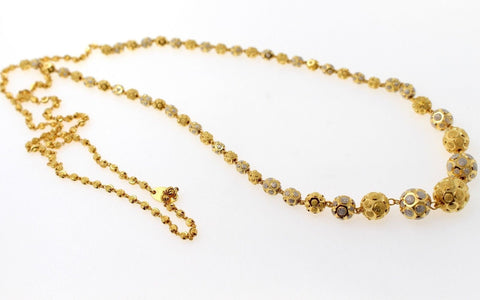 22k Yellow Solid Gold Chain Necklace Two Tone Ball Design Length 28 inch c828 | Royal Dubai Jewellers