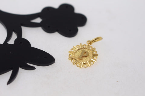"22k 22ct Solid Gold ""P"" letter Round Charm Pendant p791"