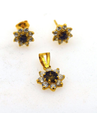 22k Solid Gold ELEGANT SMOKE QUARTZ STONE PENDANT SET EARRINGS S61