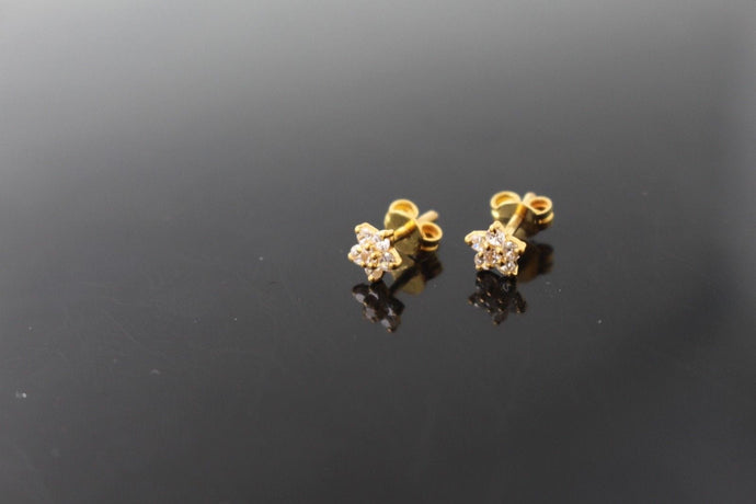 22k 22ct Solid Gold ELEGANT ROUND SHAPE Simple Stone STUD EARRING e1291