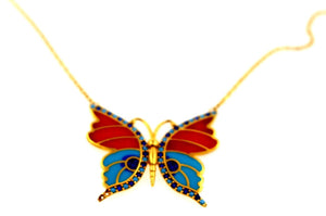 21k 21Ct Yellow Gold Chain Butterfly Colorful Gold Pendent Design C860