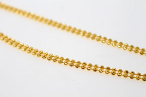 22k Chain Yellow Solid Gold Rope Necklace Simple Beads Design 3.30mm c850