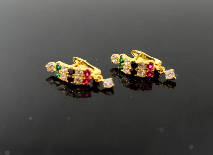 22k 22ct Solid Gold FINE MULTISTONE ZIRCONIA DANGLING EARRINGS STUDS E5470