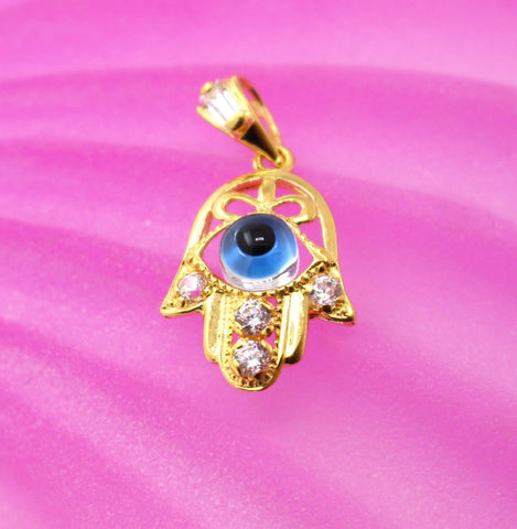 22k 22ct Solid Gold Elegant Modern Design Arabic Eye Shape Pendant p693
