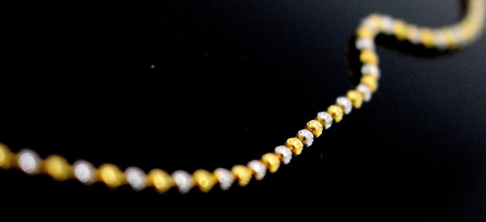 22k 22ct Yellow Solid Gold Chain Bead Necklace Design 2.35mm 20inch c873