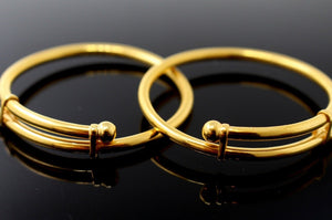 22k 22ct Solid Gold ELEGANT BABY KID BANGLE BRACELET ADJUSTABLE cb1144 | Royal Dubai Jewellers