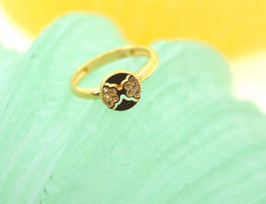"22k 22ct Solid Gold CUTE ROUND ZIRCONIA BABY KID Ring ""RESIZABLE"" size 4.2 r746 - Royal Dubai Jewellers"